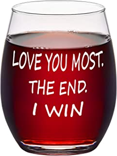 Love You Most The End I Win Stemless Wine Glass 15Oz Wine Glass for Lover Wife Couples Girlfriend Fiancee, Gift Idea for E...