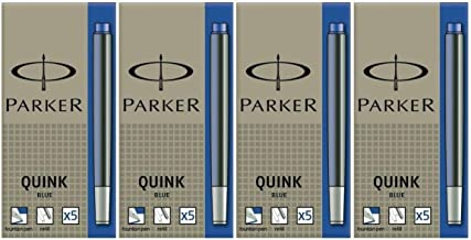 4 PACKS: Parker Quink Permanent Ink Fountain Pen Refill Cartridges, 20 Blue Ink Refills (3016031PP)