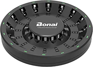 BONAI 16 Bay AA AAA Smart Battery Charger Round for Rechargeable AA AAA NiMH NiCD Batteries with Adapter