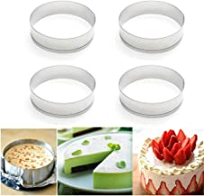 "Happy reunion Muffin Rings 4""X0.79"" Egg Pancake Rings English Stainless Steel Tart Rings Pastry and Baking Tools for Making Donuts, Biscuits, Burgers Set of 4 (4 pcs)"