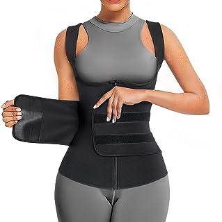Wonderience Neoprene Sauna Suit for Women Sauna Sweat Vest Waist Trainer for Women Zipper Tank Top Vest with Adjustable Belts