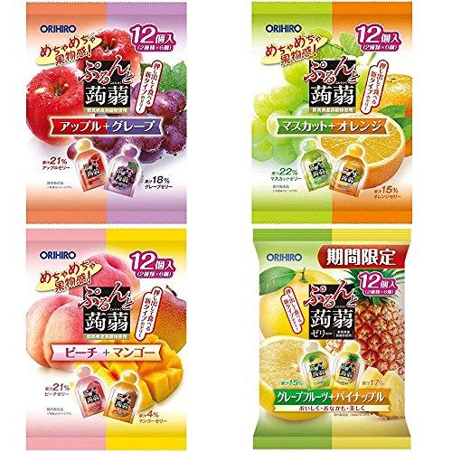 オリヒロプランデュ ぷるんと蒟蒻ゼリーパウチ 人気4種8味セット(ピーチ+マンゴー・アップル+グレープ・マスカット+オレンジ・グレープフルーツ+パイナップル )各20gx12個<計4袋・48個>