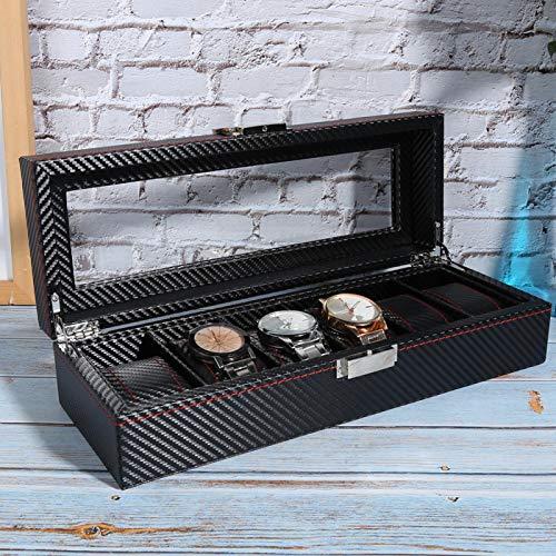 Six Grid Uhrenbox Pu Lederuhr, Zubehör Aufbewahrung Aufbewahrungsbox Black Display Schmuck Armbanduhr Organizer Schmuckschatulle Große Größe Starke Praktikabilität für die Aufbewahrung