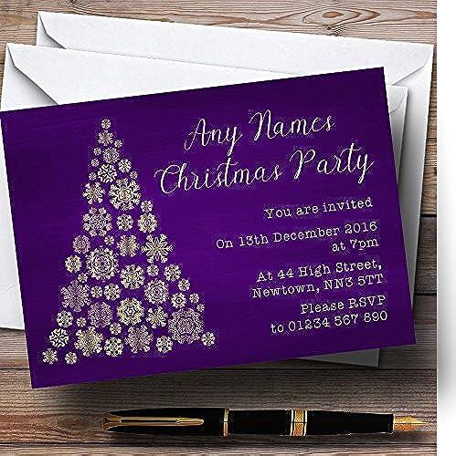 Envío rápido y el mejor servicio Morado y oro Copo de nieve nieve nieve árbol de Navidad Navidad personalizable invitaciones de fiesta  tienda en linea