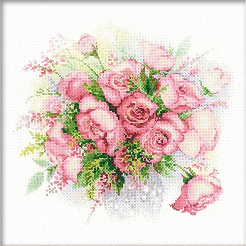RIOLIS 1335 - Watercolor Roses - Counted Cross Stitch Kit 11¾' x 11¾' Zweigart 14ct. White AIDA 22 Colors