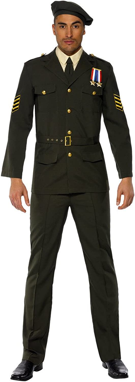 Mens Super Deluxe Wartime Officer Army Forces Armed American