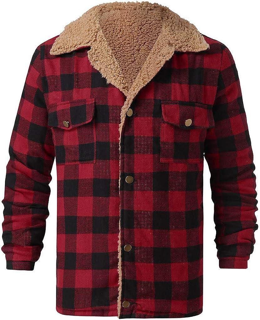Winter Mens Shearling Lined Plaid Jacket, Warm Thick Button Down Faux Fur Fleece Lapel Short Coat