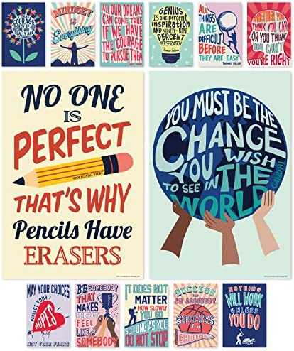 Sweetzer Orange Growth Mindset Posters for Middle and High School Classroom Decorations Set product image