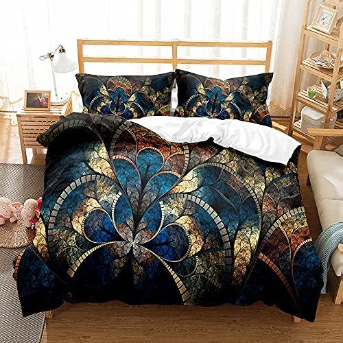 CMYKYUH Funda de edredón 240 x 260 cm Flores Azules Vintage Impresión Funda Nórdica Fibra superfina Juego de Cama Cremallera + 2 Funda de Almohada 50x75 cm para dormitorios y Habitaciones Infantiles