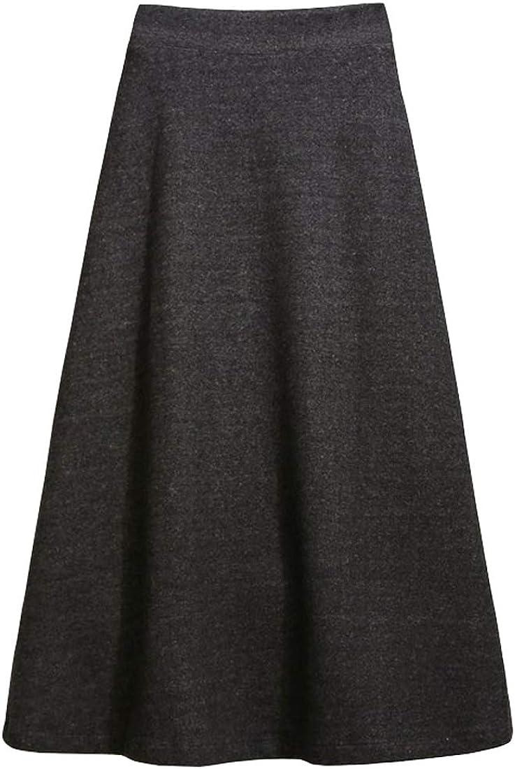 utcoco Women's Fall Winter Warm Stretchy High Waist Fit Flare Midi Long A-Line Skirt