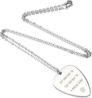 Free Engraving Custom Stainless Steel Guitar Pick Pendant Necklace Valentine's Day for Womens Mens