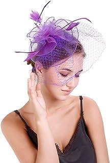 Bigood Women Mesh Feather Fascinators Hat Wedding Party Cocktail Bride Headwear Hair Accessory