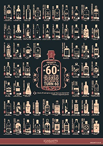 Ginsanity Posters: Boissons Gin Alcooliques [The Gin Collective Poster Range ] The 60 ChallengeBy 60 ChallengeGins Challenge - [ A3]