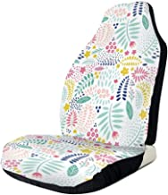 MIOMIOK Seat Covers Vehicle Protector Car Mat, Colorful Fresh Flower Petals Leaves Little Blossoms and Buds Childish and Cheerful,Fit Most Cars, Sedan, Truck, SUV,1pcs