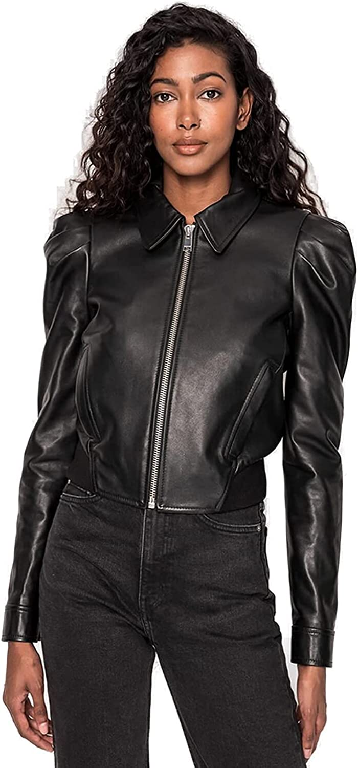 Moto Leather Jacket for women's with puff sleeves Prod By Fasigo
