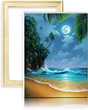 ufengke Wooden Frame Seaside Beach 5D Diamond Painting Kits Moon Night DIY Full Drill Diamond Embroidery Cross Stitch Sets for Beginners Craft Lovers