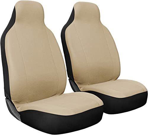 lowest OxGord Car Seat Cover - Poly Cloth popular Beige wholesale with Front Low Bucket Seat - Universal Fit for Cars, Trucks, SUVs, Vans - 2 pc Set online sale