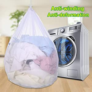 Globents Commercial Mesh Laundry Bag Sturdy Mesh Material with Drawstring Closure