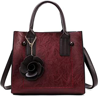 Trendy Lady Large-capacity Handbag Fashion Retro Shoulder Bag Versatile Handbag Zgywmz (Color : Red, Size : 30 * 26 * 14cm)