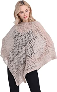 LvRao Ladies Casual Knitted Poncho Top Beach Cover Pullover with Fringed Hem, V-Neckline and Assorted Patterns