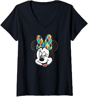 Femme Disney Arlecchino Minnie Mouse Wink Italian Carnival T-Shirt avec Col en V