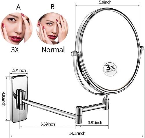 XDGTB 10x Grossissement Mur Monté Salle De Bains Cosmétique Miroir Double Face Rasage Maquillage Miroirs avec