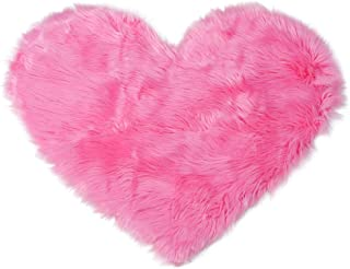 uxcell Heart Shaped Love Soft Faux Sheepskin Fur Plush Area Rugs for Home Living Room Sofa Floor Mat Bedroom 2.3ftx3ft, Rose Red