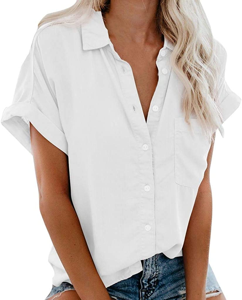 aihihe Womens Short Sleeve Button Down Shirts V Neck Blouse Shirts Casual Loose Collared Tops with Pockets