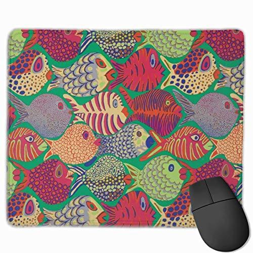 Kaffe fassett vis shoal groene gaming muismat aangepaste rechthoek muismat computer gaming muis mat anti-slip rubber voor pc en laptop