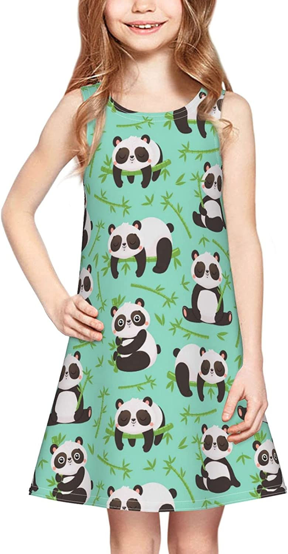 Bumaoln Cute Panda Girl Sleeveless Dress Colorful Print Adorable Tunic Summer Swing Skirt Toddler Casual/Party Sundress