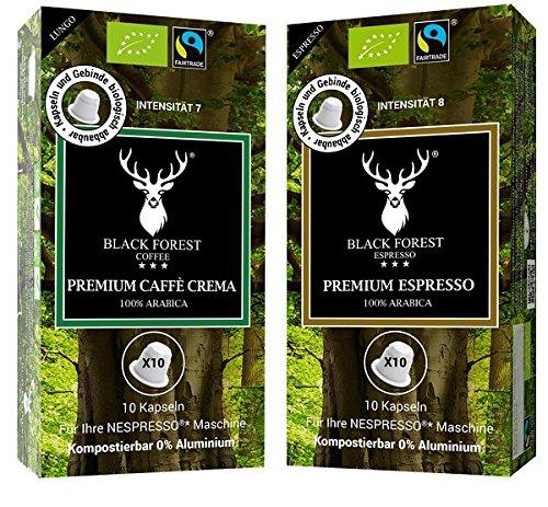 Black Forest Coffee Bio Kaffeekapseln. 60 Stück. 30 x Premium Espresso und 30 x Caffé Crema. Für Nespresso* Maschinen. Kompostierbar, recyclebar. 0% Aluminium. Grundpreis 8,98€/100g