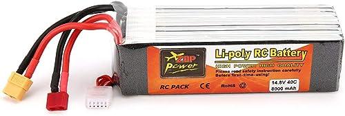 73JohnPol ZOP Puissance 14.8V 8000mAh 40C 4S 1P Lipo Batterie T XT60 Plug Rechargeable pour Bateau de Hélicoptère Quadricoptère RC Racing Drone (Couleur  gris foncé)