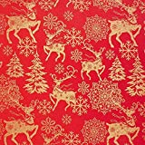 Fabulous Fabrics Weihnachtsstoff goldene Rentiere – rot