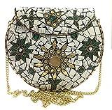 Jiya Sac de mariée femme en métal Mosaic Sling Clutch Bag