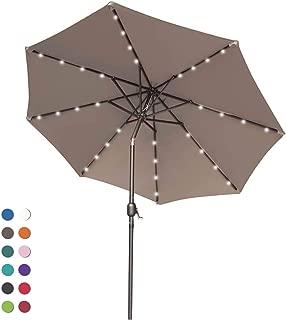 ABCCANOPY 9FT Patio Umbrella Ourdoor Solar Umbrella LED Umbrellas with 32LED Lights, Tilt and Crank Table Umbrellas for Garden, Deck, Backyard and Pool,12+Colors, (Tan)
