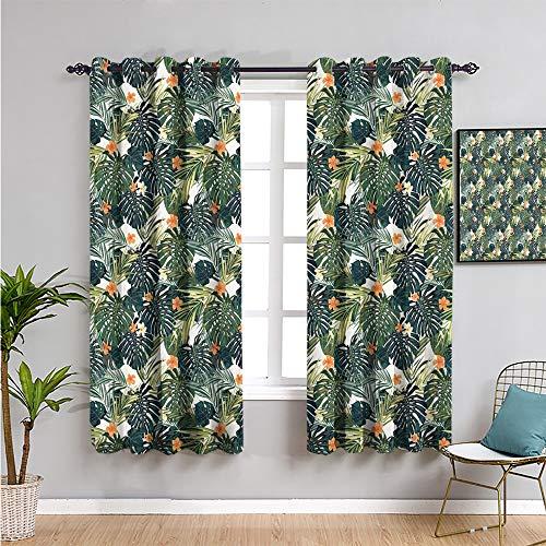 Pcglvie Cortina oscurecida de 114,3 cm de largo, diseño hawaiano de verano con plantas tropicales y flores de hibisco para mantener un buen sueño, verde verde azulado oscuro, naranja