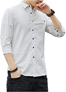 Winwinus Mens Single Breasted Premium Relaxed Fit Hot Stamping Dress Shirt