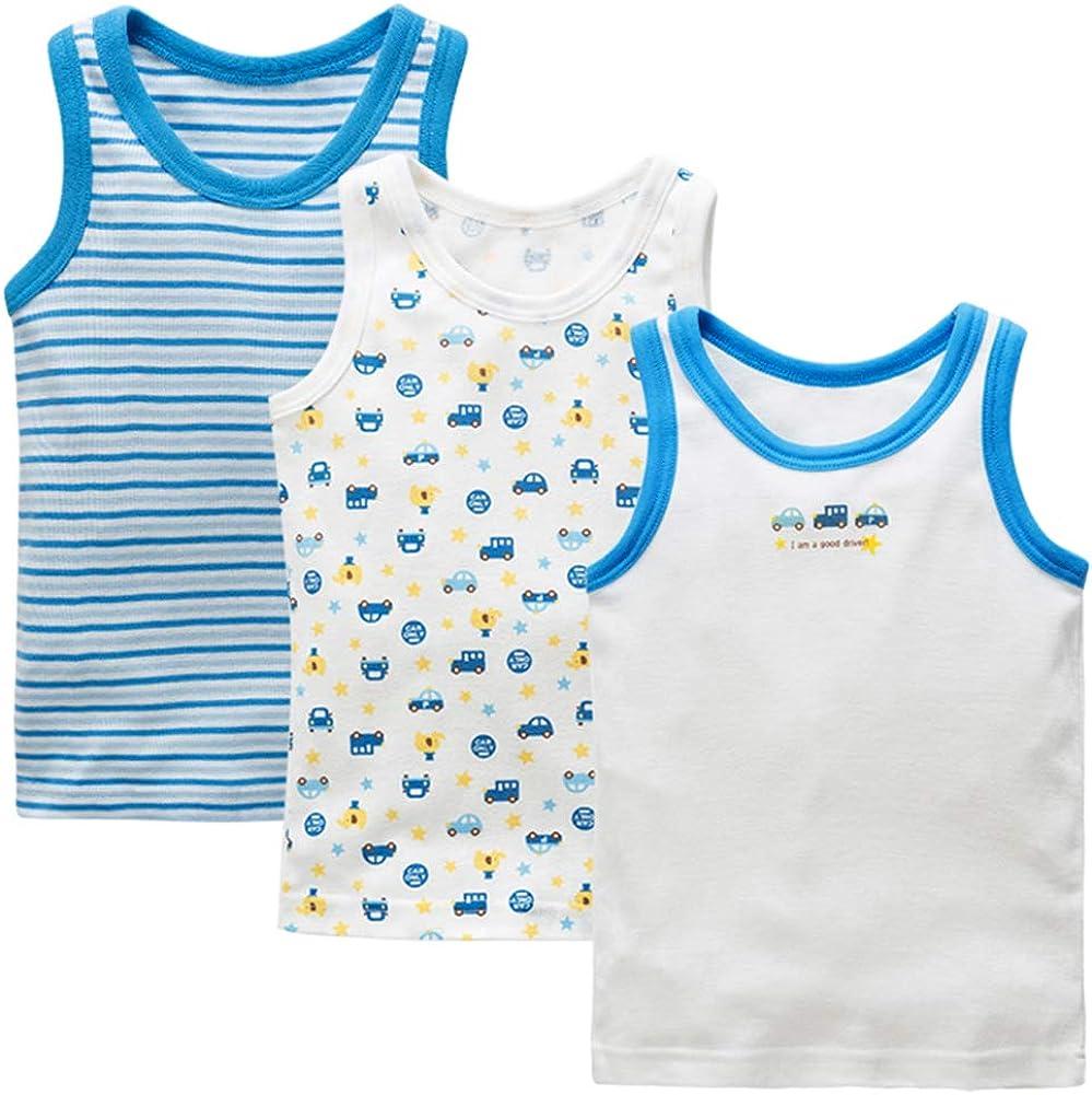 POBIDOBY Toddler Boys' 3 Pack Tank Tops 100% Cotton Sleeveless Undershirts Cars 95