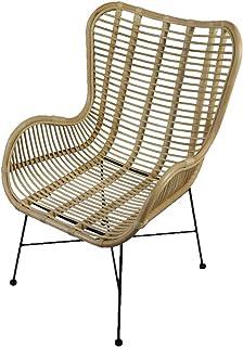 animal-design Sillón Relax de ratán, silla de mimbre con reposabrazos, estilo retro, para comedor, cocina, balcón, terraza, color: natural