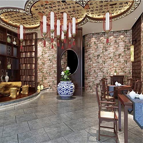 BIZI Pegatinas de pared Papel tapiz 3D Cubano Scuba Brick Estilo Chino Falsa Ladrillo Restaurante Tienda de té Entrada Art Decal Mural,400 * 280 cm,