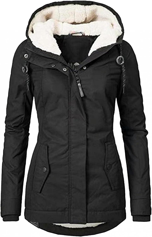 Women's Wool Coat Plus Size Outwear Winter Warm Jacket Coats Faux Fur Lined Trench Hooded Thick Windproof Overcoat