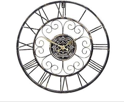 XLL 時計ヨーロッパの鍛鉄製の壁時計金属材料時計の顔の直径47センチメートル静かなスキャンの動き1 AA電池(含まれていません)リビングルームベッドルームホテルバー 精度