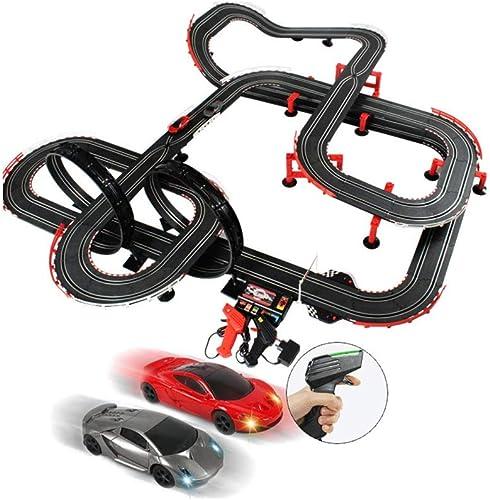 LINGLING-Verfolgen Kinder Track Fernbedienung Auto Größe Track Spielzeug zusammengebaute Rennstrecke 14,2 Meter (Farbe   Electric Plus Hand Shake, Größe   14.2m)