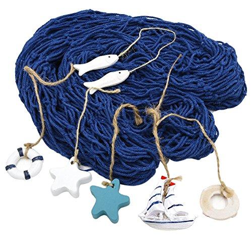HOGAR AMO Rete da Pesca Decorativa con 6 Accessori Blu Nautical Net Decorativo Stile Mediterraneo Decorazione per Casa, Feste e Bar 150x200cm