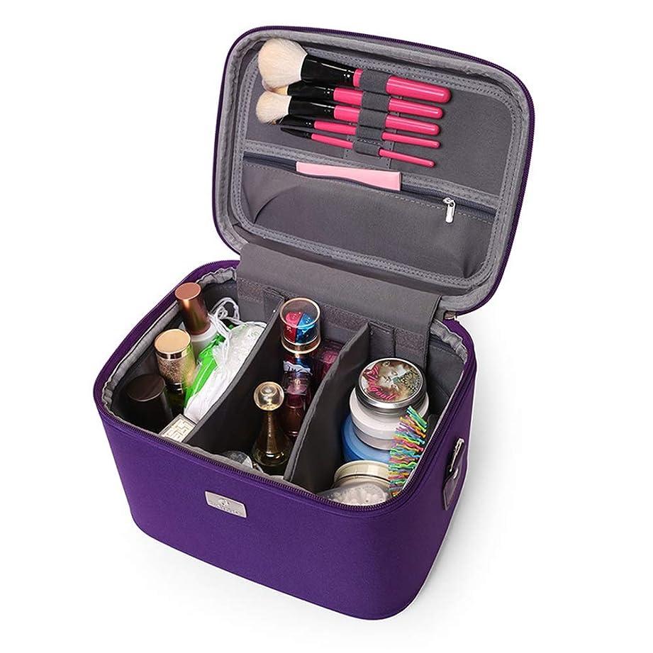 経験者有効化スーツケース化粧オーガナイザーバッグ 14インチのメイクアップトラベルバッグPUレター防水化粧ケースのティーン女の子の女性アーティスト 化粧品ケース (色 : 紫の)