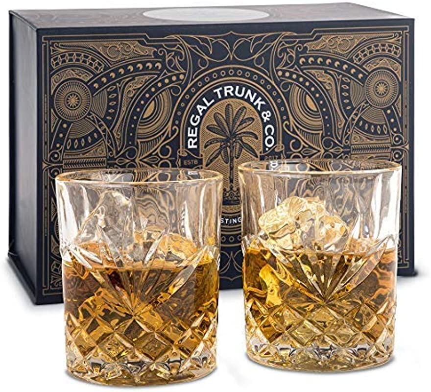 Elegant Whiskey Glass Set Of 2 In A Spectacular Gift Box By Regal Trunk Co 10 Oz Old Fashioned Lead Free Whiskey Glasses Set For Whisky Bourbon Scotch Or Rum Perfect Gift Diamond Cut Design