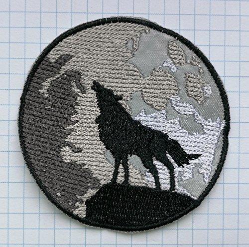 Parches bordados de tela para planchar con diseño de lobo y luna