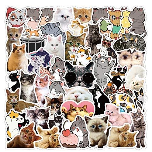 BLOUR 50 Piezas Nuevas Pegatinas de Gato Kawaii calcomanía para niña Dibujos Animados Bonitos Pegatina de Animales para Maleta DIY papelería Nevera Botella de Agua Guitarra