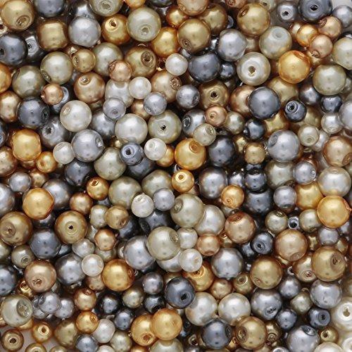 Glas Perlen in Gold und Silber Farben 4 mm und 6 mm gemischt Farben ca. 700 Stück