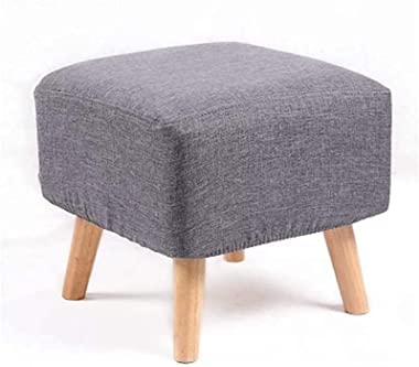 Footstools & Ottomans Square Modern Upholstered Large Footstool Ottoman Pouffe Stool Wooden 4Legs (Color : B)